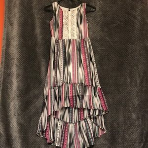 Black, White, and Pink High-Low Dress